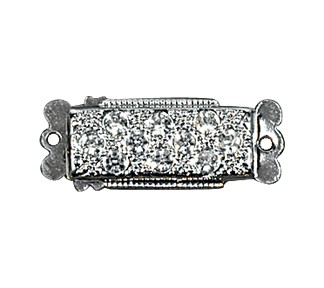 Clasps #302 Silver/Crystal 22mm 2 Rows (12 Pieces)