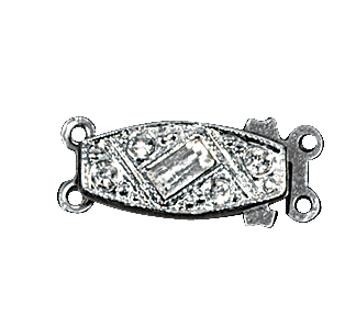 Clasps #304 Silver/Crystal 19mm 1 Row (12 Pieces)