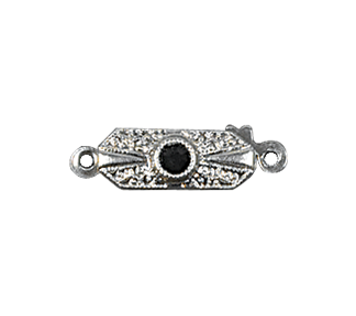 Clasps #306 Silver/Jet 19mm 1 Row (12 Pieces)