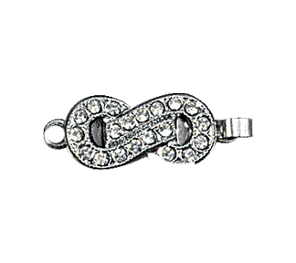 Clasps #314 Silver/Crystal 19mm 2 Rows (12 Pieces)
