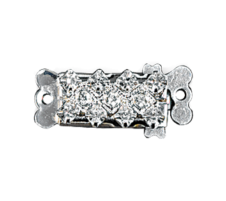 Clasps #348 Silver/Crystal 21mm 1 Row (12 Pieces)