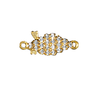 Clasps #359 Gold/Crystal 18mm 1 Row (12 Pieces)