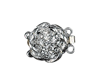 Clasps #6145 Silver/Crystal 15mm 1 Row (12 Pieces)