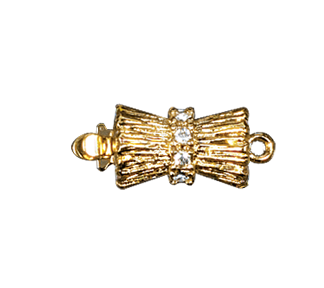 Clasps #6146 Gold/Crystal 18mm 1 Row (12 Pieces)