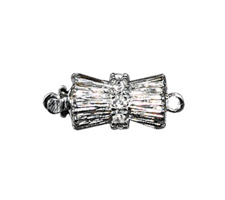 Clasps #6146 Silver/Crystal 18mm 1 Row (12 Pieces)