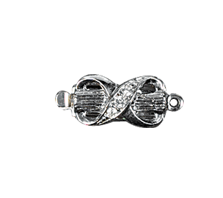 Clasps #6160 Silver/Crystal 18mm 1 Row (12 Pieces)