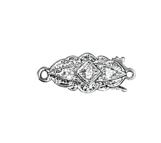 Clasps #6166 Silver/Crystal 19mm 1 Row (12 Pieces)