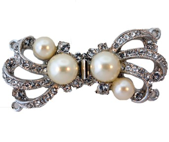 Clasps #6168 Silver/Pearl 31mm 2 Rows (12 Pieces)