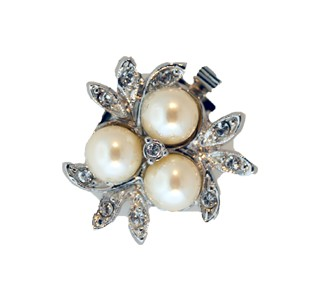 Clasps #6169 Silver/Pearl 22mm 1 Row (12 Pieces)