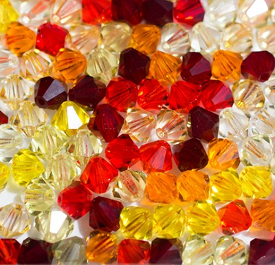 "Preciosa Crystal Bicone Bead ""Sunset Mix"" (Mix #1) #6250 6mm (144 Pieces) - CLEARANCE"