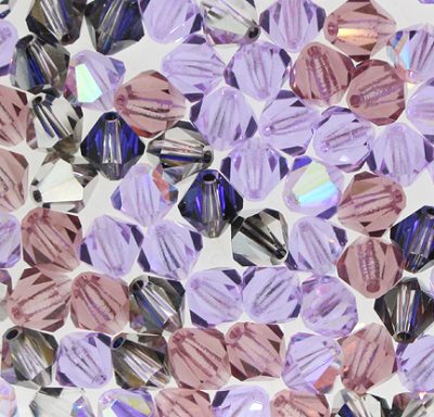 "Preciosa Crystal Bicone Bead ""Purple Passion Mix"" (Mix #17) #6250 6mm (144 Pieces) - CLEARANCE"