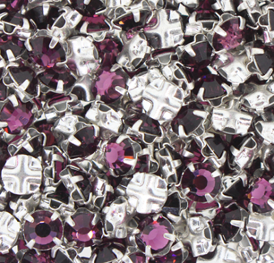 Preciosa Roses Montees #2200 SS20 Silver/Amethyst (1,440 Pieces) - CLEARANCE