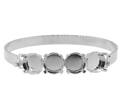 Bangle Bracelet Setting #7937 Silver for 1122 SS47 Stones (2 Pieces)
