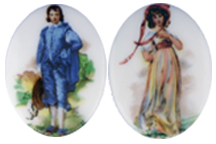 Porcelain Paintings #2072 25x18mm 2 Scenes (12 Pieces) - CLEARANCE