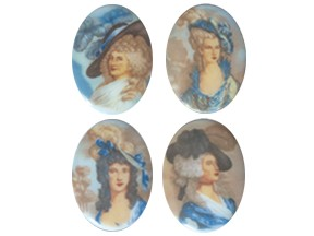 Porcelain Paintings #2271 18x13mm 4 Scenes (12 Pieces) - CLEARANCE