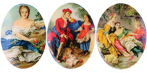 Porcelain Paintings #361 40x30mm 3 Scenes (12 Pieces) - CLEARANCE