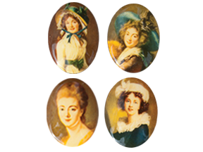Porcelain Paintings #450 25x18mm 4 Scenes (12 Pieces) - CLEARANCE