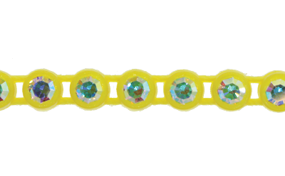 Preciosa Rhinestone Plastic Banding 1 Row SS13 Lemon Yellow/Crystal AB (10 Meters)