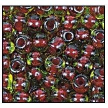 Seed Bead #2100 11/0 51228 Peridot Transparent/Red Lined (1/2 Kilo) - CLEARANCE