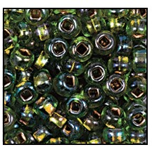 Seed Bead #2100 11/0 59439 Peridot Transparent Copper Lined Iris (1/2 Kilo) - CLEARANCE