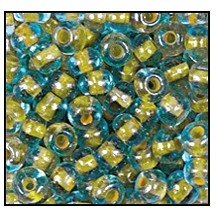 Seed Bead #2100 11/0 61017 Aqua Transparent/Yellow Lined (1/2 Kilo) - CLEARANCE
