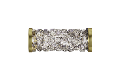 Swarovski 5950 Fine Rocks Tube Bead (With Gold Plated Metal Ending) 15mm Crystal Moonlight