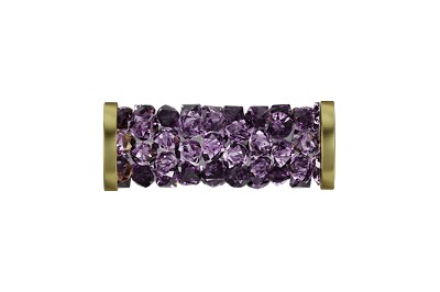 Swarovski 5950 Fine Rocks Tube Bead (With Gold Plated Metal Ending) 15mm Amethyst