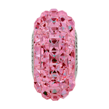 Swarovski 81201 BeCharmed Pave Slim Bead (Fancy Square) 13mm Rose (12 Pieces)