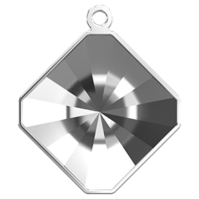Swarovski 4499/J Kaleidoscope Square Fancy Stone Glue In Pendant Setting 10mm Rhodium 1 Top Ring (48 Pieces)