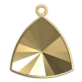 Swarovski 4799/J Kaleidoscope Triangle Fancy Stone Glue In Pendant Setting 14x14.3mm Gold 1 Top Ring (24 Pieces)