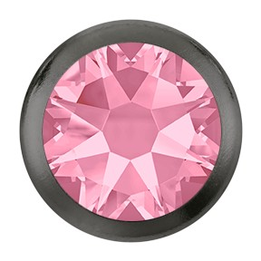 Swarovski 2078/H Hot Fix Framed Flatback Rhinestones SS16 Light Rose with Gunmetal Ring (1,440 Pieces)