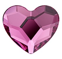 Swarovski 2808 Hot Fix Heart Flatback Rhinestones 14mm Fuchsia (96 Pieces)