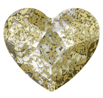 Swarovski 2808 Hot Fix Heart Flatback Rhinestones 14mm Crystal Gold Patina (96 Pieces)