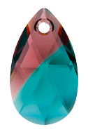 Swarovski 6106 Pear Pendant 16mm Burgundy Blue Zircon Blend