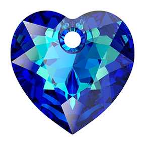 Swarovski 6432 Heart Cut Pendant 8mm Crystal Bermuda Blue (Protective Layer)