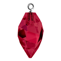 Swarovski 6541 Twisted Drop Pendant (half hole) with Bail 14.5mm Rhodium/Ruby (48 Pieces)