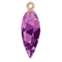 Swarovski 6541 Twisted Drop Pendant (half hole) with Classic Cap 34.5mm Rose Gold/Amethyst (12 Pieces)
