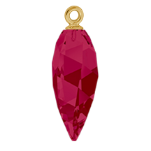 Swarovski 6541 Twisted Drop Pendant (half hole) with Classic Cap 34.5mm Gold/Ruby (12 Pieces)