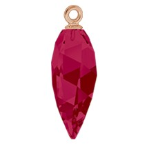 Swarovski 6541 Twisted Drop Pendant (half hole) with Classic Cap 24mm Rose Gold/Ruby (24 Pieces)